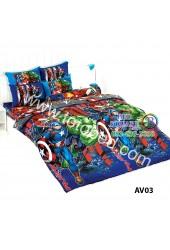 ชุดเครื่องนอนลายอเวนเจอร์ Avengers TOTO ผ้าปูที่นอน ผ้านวม ลิขสิทธิ์แท้โตโต้ AV03