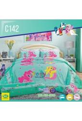 ชุดเครื่องนอนลายมายลิตเติ้ลโพนี่ My Little Pony ลิขสิทธิ์แท้ Satin ผ้าปูที่นอน ผ้านวมซาติน C142