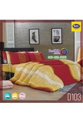 ชุดเครื่องนอนลายกราฟฟิก โทนสีเหลือง แดง Satin ผ้าปูที่นอน ผ้านวมซาติน D103