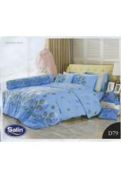 ชุดเครื่องนอนลายใบไม้สีทอง พื้นสีฟ้า Satin ผ้าปูที่นอน ผ้านวมซาติน D79