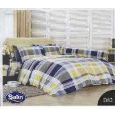 ชุดเครื่องนอนลายตารางคละสี เหลือง น้ำเงิน เทา Satin ผ้าปูที่นอน ผ้านวมซาติน D82