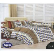 ชุดเครื่องนอนลายตารางสี่เหลี่ยม พื้นน้ำตาล ขาว Satin ผ้าปูที่นอน ผ้านวมซาติน D85