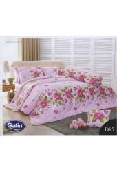 ชุดเครื่องนอนลายดอกกุหลาบ พื้นชมพู Satin ผ้าปูที่นอน ผ้านวมซาติน D87