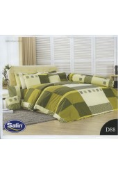 ชุดเครื่องนอนลายตาราง พื้นสีเขียว ขาว Satin ผ้าปูที่นอน ผ้านวมซาติน D88
