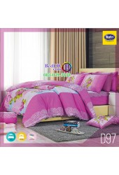 ชุดเครื่องนอนลายกราฟฟิก โทนสีชมพู Satin ผ้าปูที่นอน ผ้านวมซาติน D97