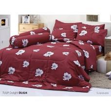 ชุดเครื่องนอนพิมพ์ลายดอก สีแดง Tulip Delight ผ้าปูที่นอน ผ้านวมทิวลิป ดีไลท์ DL024