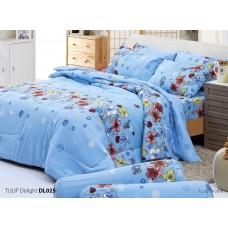 ชุดเครื่องนอนพิมพ์ลายดอก สีฟ้า Tulip Delight ผ้าปูที่นอน ผ้านวมทิวลิป ดีไลท์ DL025