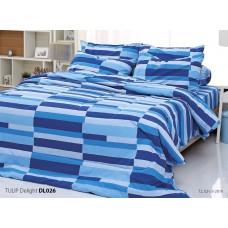 ชุดเครื่องนอนพิมพ์ลาย สีฟ้าน้ำเงิน Tulip Delight ผ้าปูที่นอน ผ้านวมทิวลิป ดีไลท์ DL026