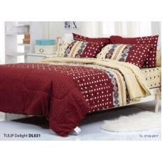 ชุดเครื่องนอนพิมพ์ลายกราฟฟิค พื้นแดงเหลืองอ่อน Tulip Delight ผ้าปูที่นอน ผ้านวมทิวลิป ดีไลท์ DL031