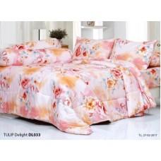 ชุดเครื่องนอนพิมพ์ลายดอกไม้ สีโอลด์โรส Tulip Delight ผ้าปูที่นอน ผ้านวมทิวลิป ดีไลท์ DL033