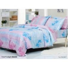 ชุดเครื่องนอนพิมพ์ลายดอก พื้นชมพูฟ้า Tulip Delight ผ้าปูที่นอน ผ้านวมทิวลิป ดีไลท์ DL035