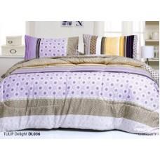 ชุดเครื่องนอนพิมพ์ลาย โทนม่วงน้ำตาล Tulip Delight ผ้าปูที่นอน ผ้านวมทิวลิป ดีไลท์ DL036