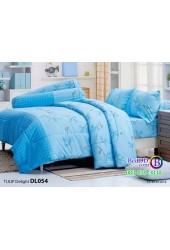 ชุดเครื่องนอนพิมพ์ลาย  พื้นสีฟ้า Tulip Delight ผ้าปูที่นอน ผ้านวมทิวลิป ดีไลท์ DL054