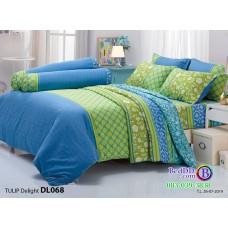 ชุดเครื่องนอนพิมพ์ลายดอก เขียว น้ำเงิน Tulip Delight ผ้าปูที่นอน ผ้านวมทิวลิป ดีไลท์ DL068