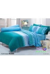 ชุดเครื่องนอนพิมพ์ลากราฟฟิค เขียว ฟ้า Tulip Delight ผ้าปูที่นอน ผ้านวมทิวลิป ดีไลท์ DL069