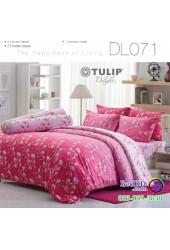 ชุดเครื่องนอนพิมพ์ลายดอก สีชมพู Tulip Delight ผ้าปูที่นอน ผ้านวมทิวลิป ดีไลท์ DL071