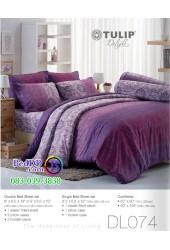 ชุดเครื่องนอนพิมพ์ลาย พื้นสีม่วง Tulip Delight ผ้าปูที่นอน ผ้านวมทิวลิป ดีไลท์ DL074