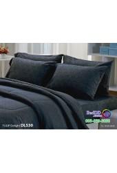 ชุดเครื่องนอนพิมพ์ลาย พื้นสีดำ Tulip Delight ผ้าปูที่นอน ผ้านวมทิวลิป ดีไลท์ DL530