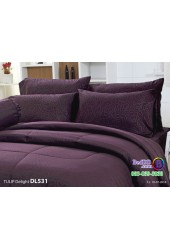 ชุดเครื่องนอนพิมพ์ลาย พื้นสีม่วง Tulip Delight ผ้าปูที่นอน ผ้านวมทิวลิป ดีไลท์ DL531