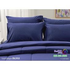 ชุดเครื่องนอนพิมพ์ลาย พื้นสีน้ำเงิน Tulip Delight ผ้าปูที่นอน ผ้านวมทิวลิป ดีไลท์ DL532