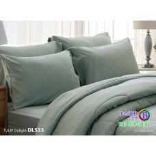 ชุดเครื่องนอนพิมพ์ลาย พื้นสีเทา Tulip Delight ผ้าปูที่นอน ผ้านวมทิวลิป ดีไลท์ DL533