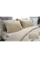 ชุดเครื่องนอนพิมพ์ลาย พื้นสีน้ำตาลอ่อน Tulip Delight ผ้าปูที่นอน ผ้านวมทิวลิป ดีไลท์ DL534