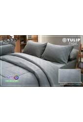 ชุดเครื่องนอนพิมพ์ลาย พื้นสีเทา Tulip Delight ผ้าปูที่นอน ผ้านวมทิวลิป ดีไลท์ DL535
