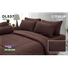 ชุดเครื่องนอนพิมพ์ลาย พื้นสีน้ำตาล Tulip Delight ผ้าปูที่นอน ผ้านวมทิวลิป ดีไลท์ DL537
