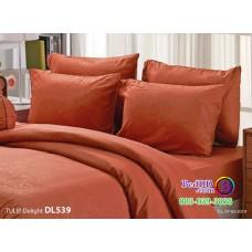 ชุดเครื่องนอนพิมพ์ลาย พื้นสีน้ำตาล Tulip Delight ผ้าปูที่นอน ผ้านวมทิวลิป ดีไลท์ DL539