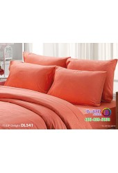ชุดเครื่องนอนพิมพ์ลาย พื้นสีส้ม Tulip Delight ผ้าปูที่นอน ผ้านวมทิวลิป ดีไลท์ DL541