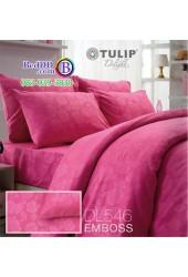 ชุดเครื่องนอนพิมพ์ลาย พื้นสีชมพู Tulip Delight ผ้าปูที่นอน ผ้านวมทิวลิป ดีไลท์ DL546