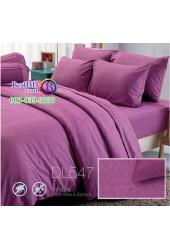 ชุดเครื่องนอนพิมพ์ลาย พื้นสีม่วง Tulip Delight ผ้าปูที่นอน ผ้านวมทิวลิป ดีไลท์ DL547