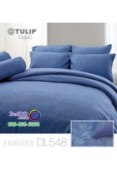 ชุดเครื่องนอนพิมพ์ลาย พื้นสีน้ำเงิน Tulip Delight ผ้าปูที่นอน ผ้านวมทิวลิป ดีไลท์ DL548