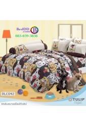 ชุดเครื่องนอนลาย หมาจ๋า ผ้าปูที่นอน ผ้านวมทิวลิป DLC042