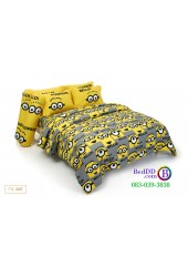ชุดเครื่องนอนลายมินเนี่ยน Minion สีเหลือง Fountain ผ้าปูที่นอน ผ้านวมฟาวเท่น FTC007