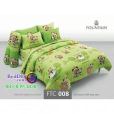 ชุดเครื่องนอนลายริลัคคุมะ Rilakkuma สีเเขียว Fountain ผ้าปูที่นอน ผ้านวมฟาวเท่น FTC008