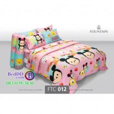 ชุดเครื่องนอนลายมิกกี้เม้าส์ Mickey Mouse TSUM TSUM ซูมซูม พื้นสีชมพู Fountain ผ้าปูที่นอน ผ้านวมฟาวเท่น FTC012