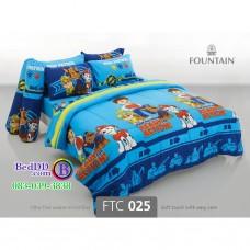 ชุดเครื่องนอนลายขบวนการเจ้าตูบสี่ขา Paw Patrol สีฟ้า Fountain ผ้าปูที่นอน ผ้านวมฟาวเท่น FTC025