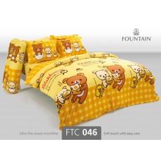 ชุดเครื่องนอนลายริลัคคุมะ Rilakkuma สีเหลือง Fountain ผ้าปูที่นอน ผ้านวมฟาวเท่น FTC046