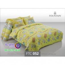 ชุดเครื่องนอนลายชินนามอนโรล Cinnamoroll สีเหลือง Fountain ผ้าปูที่นอน ผ้านวมฟาวเท่น FTC052