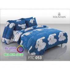 ชุดเครื่องนอนลายชินนามอนโรล Cinnamoroll สีน้ำเงิน Fountain ผ้าปูที่นอน ผ้านวมฟาวเท่น FTC053