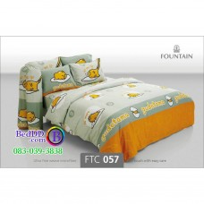 ชุดเครื่องนอนลายไข่ขี้เกียจ Gudetama สีเทา Fountain ผ้าปูที่นอน ผ้านวมฟาวเท่น FTC057