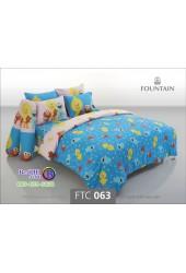 ชุดเครื่องนอนลายเซซามี Sesame Street สตรีท สีฟ้า Fountain ผ้าปูที่นอน ผ้านวมฟาวเท่น FTC063
