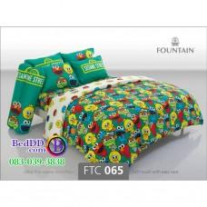 ชุดเครื่องนอนลายเซซามี Sesame Street สตรีท สีเขียว Fountain ผ้าปูที่นอน ผ้านวมฟาวเท่น FTC065