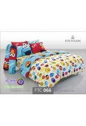 ชุดเครื่องนอนลายเซซามี Sesame Street สตรีท สีขาว Fountain ผ้าปูที่นอน ผ้านวมฟาวเท่น FTC066