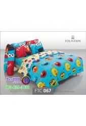 ชุดเครื่องนอนลายเซซามี Sesame Street สตรีท สีฟ้า Fountain ผ้าปูที่นอน ผ้านวมฟาวเท่น FTC067