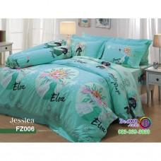 ชุดเครื่องนอนลายเอลซ่า โฟรเซ่น Frozen Elsa สีเขียว Jessica ผ้าปูที่นอน ผ้านวมเจสสิก้า FZ006
