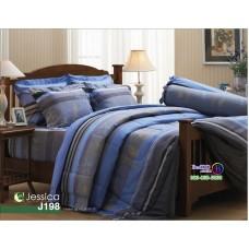 ชุดเครื่องนอนลายใบไม้ ฟ้า เทา Jessica ผ้าปูที่นอน ผ้านวมเจสสิก้า J198