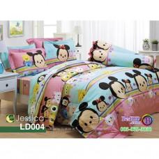 ชุดเครื่องนอนลายซูมซูม Tsum Tsum สีชมพูฟ้า Jessica ผ้าปูที่นอน ผ้านวมเจสสิก้า LD004