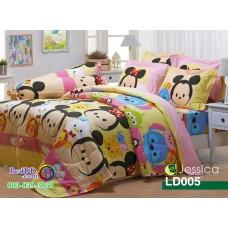 ชุดเครื่องนอนลายซูมซูม Tsum Tsum สีเหลืองชมพู Jessica ผ้าปูที่นอน ผ้านวมเจสสิก้า LD005